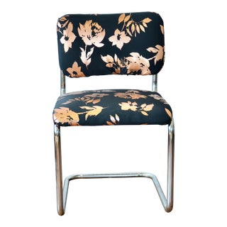 Marcel Breuer Style Black and Copper Rose Upholstered Cantilevered Tubular Steel Chair For Sale