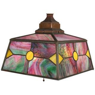 Antique Arts & Crafts Leaded Glass Bradley & Hubbard School Hanging Light For Sale
