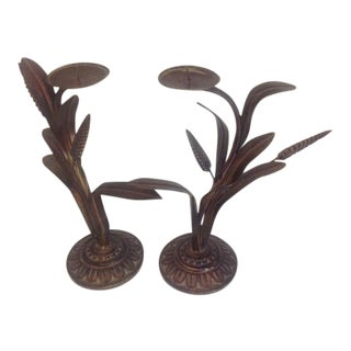 Antique Bronze Finish Cattail Candle Holders - A Pair