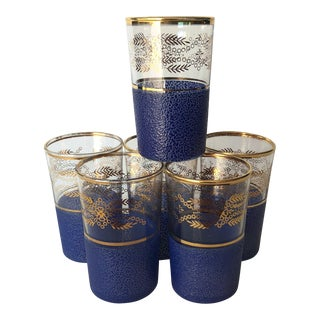 Early 20th Century Antique Blue & Gold Shot Glasses - Set of 6 For Sale