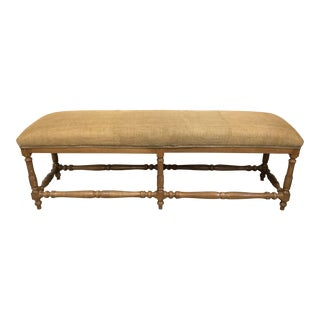 Vintage French Provincial Style Long Walnut Bench For Sale