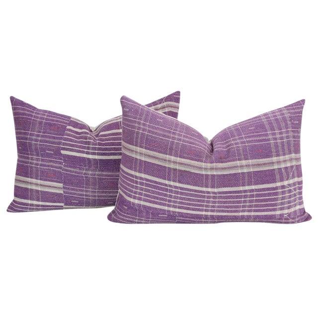Purple Bengal Kantha Lumbar Pillows - a Pair For Sale
