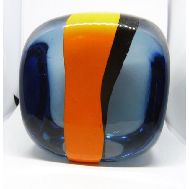 This is a large Pierre Cardin for Venini Murano Glass cube. The piece could function as a paperweight.