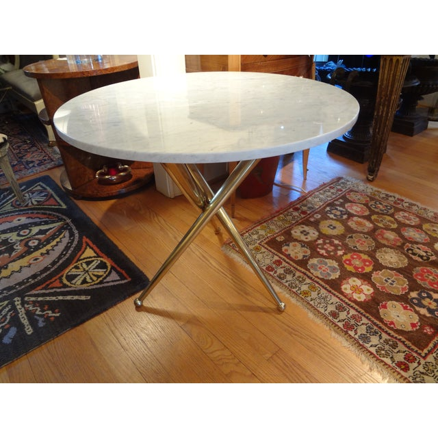 Italian Gio Ponti Inspired Brass and Marble Table - Image 6 of 8