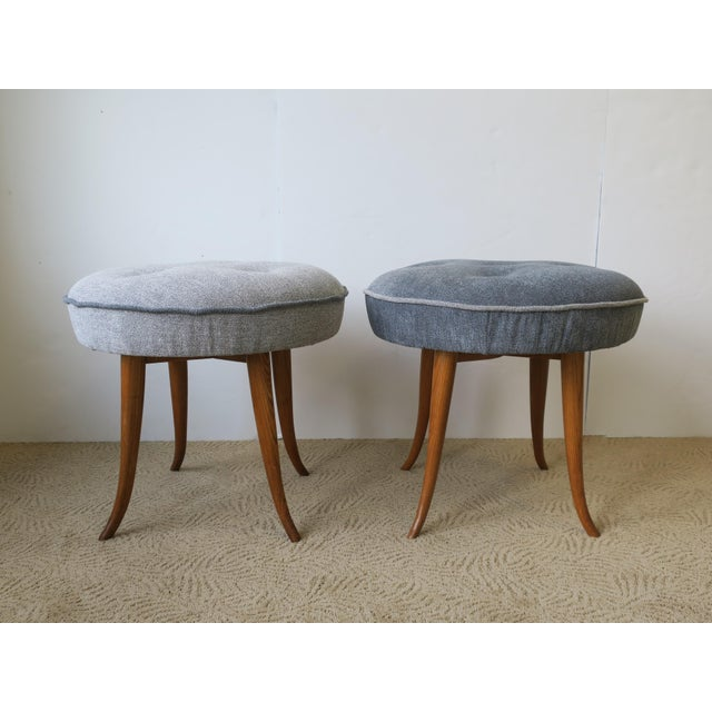 A beautiful pair of Mid-20th century Austrian round upholstered wood stools or benches, in the style of designer Josef...