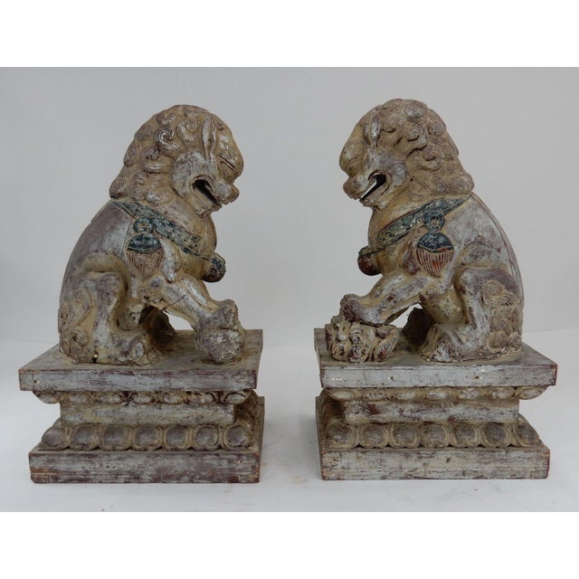 Gold Antique Qing Dynasty Temple Foo Dogs - A Pair For Sale - Image 8 of 11