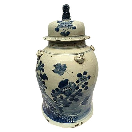 Blue & White Ginger Jar With Foo Dog Lid - Image 1 of 8