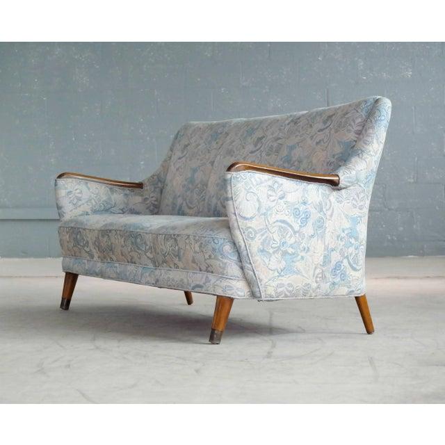 Danish Midcentury Sofa With Teak Armrests For Sale - Image 4 of 10
