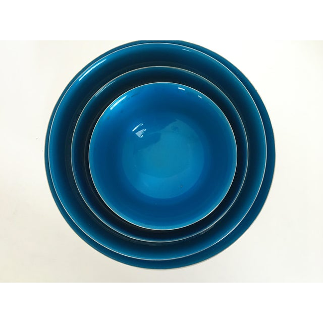 Metal Mid-Century Reed & Barton Silver-Plated Revere Bowls With Blue Enamel Interiors - Set of 4 Sizes For Sale - Image 7 of 13