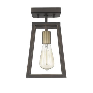 Brooklyn 1 Light Semi-Flush Ceiling, Oiled Bronze and Antique Brass For Sale