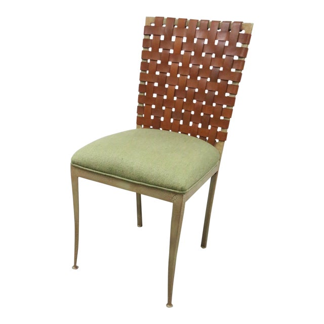 Modern Harden Iron & Leather Side Chair For Sale