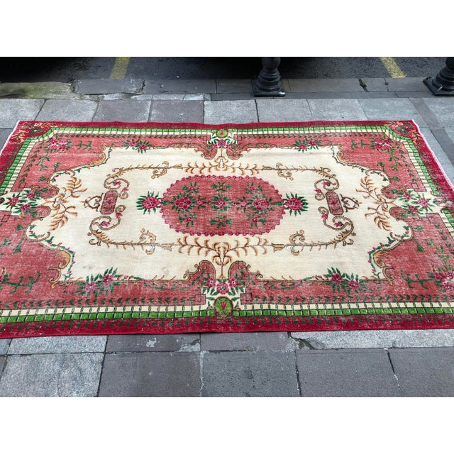 Textile 1960s Vintage Turkish Rug - 5′4″ × 9′2″ For Sale - Image 7 of 10