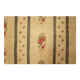 Antique French Blue Striped Floral Curtain For Sale