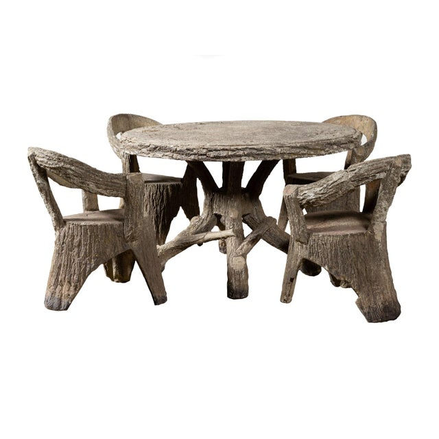 Stone 1950s Rustic Faux Bois Dining Set For Sale - Image 7 of 7