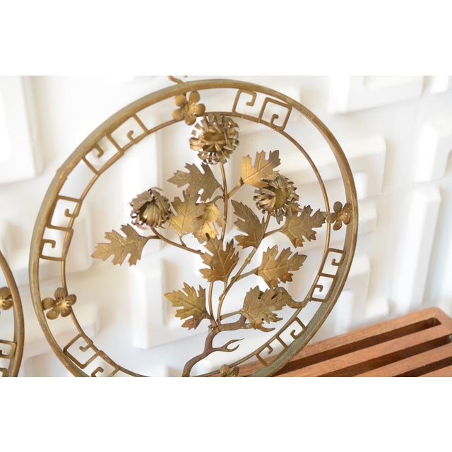 1950s 1950s Mid-Century Modern Brass 3d Floral Wall Hangings - a Pair For Sale - Image 5 of 8