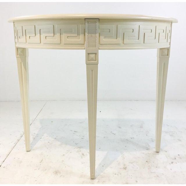 Elegant Ave home modern ivory wood Athena demi-lune console table, Greek key detail, tapered legs, showroom floor sample,...