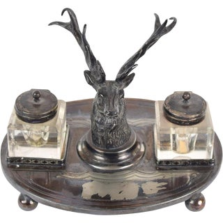 Antique English Elk Stag Head Silverplate Inkwell