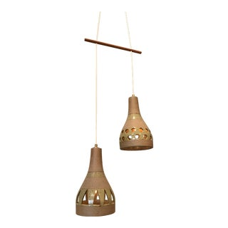Pair of Hanging Studio Ceramic 1960s Japanese Lamps For Sale