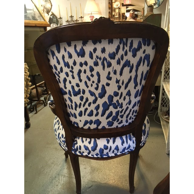 Boho Chic Blue Leopard Bergere Chairs - a Pair For Sale - Image 3 of 5