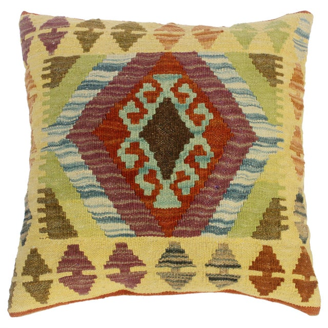 "Claretta Gold/Rust Hand-Woven Kilim Throw Pillow(18""x18"") For Sale In New York - Image 6 of 6"