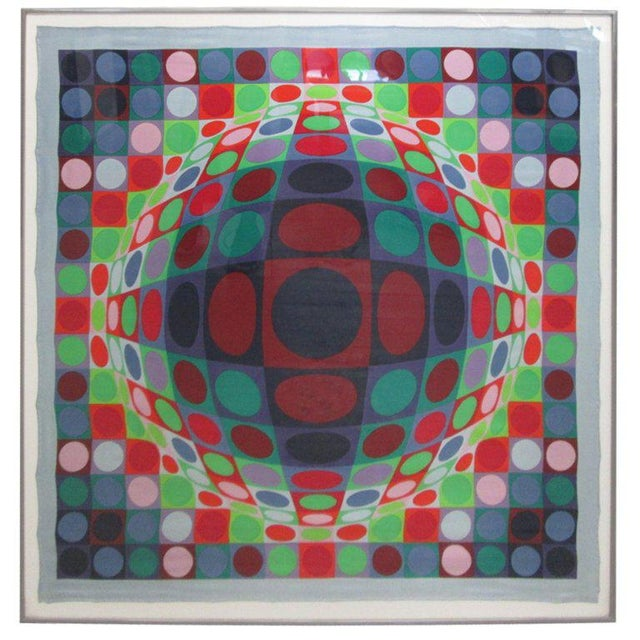 1960s Signed, Victor Vasarely 1969 Op Art Silk Scarf Screen-Print For Sale - Image 5 of 5