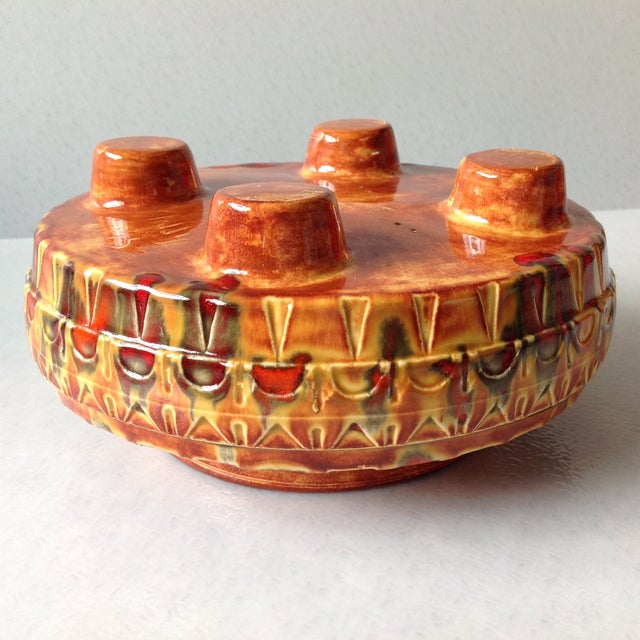"1970s Brown and Red ""UFO"" Ceramic Planter - Image 8 of 11"