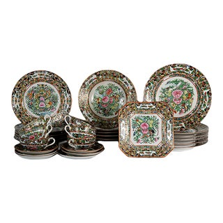Antique Chinese Export Butterfly Dinner Set, Service for 6 For Sale
