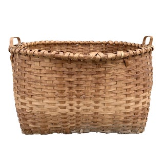 Monumental 19th Century American Oak Splint Basket For Sale