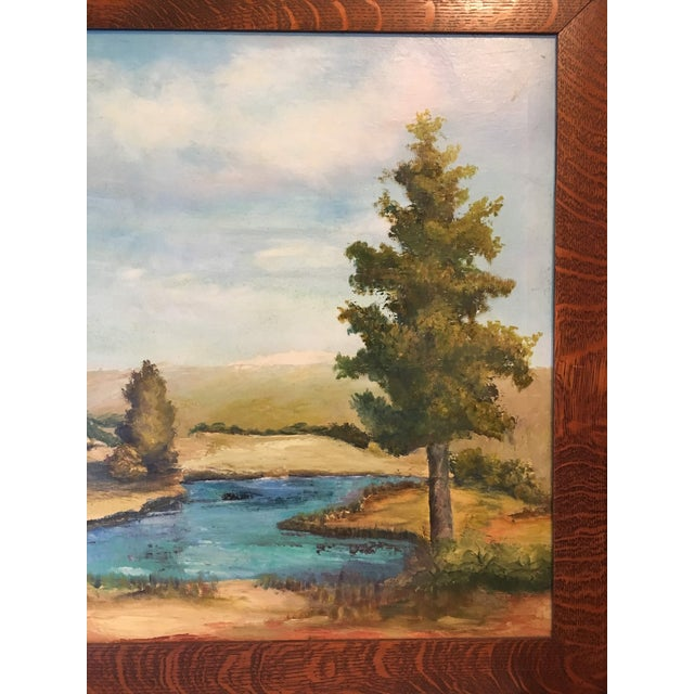 1950s Oil on Canvas of a Moose on a Sky Blue Lake For Sale - Image 5 of 7