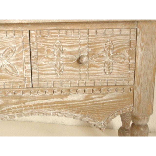 Custom Ceruse Oak Wood Carved Console With Turned Legs and Drawers For Sale - Image 4 of 7