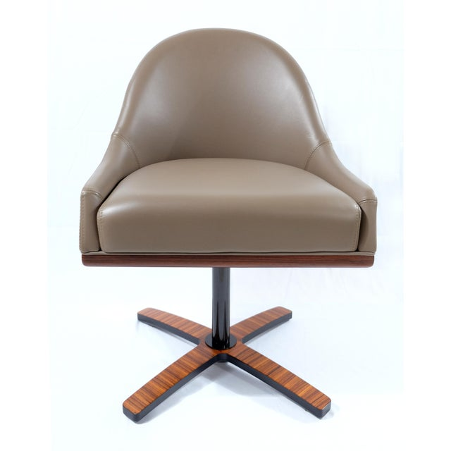 """Italian Medea Mobilidea """"Chic"""" Swivel Chairs Designed by Umberto Asnago- a Pair For Sale - Image 3 of 12"""