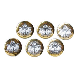1960s Fonasetti Roman Chariot Gilded Porcelain Coasters - Set of 6 For Sale