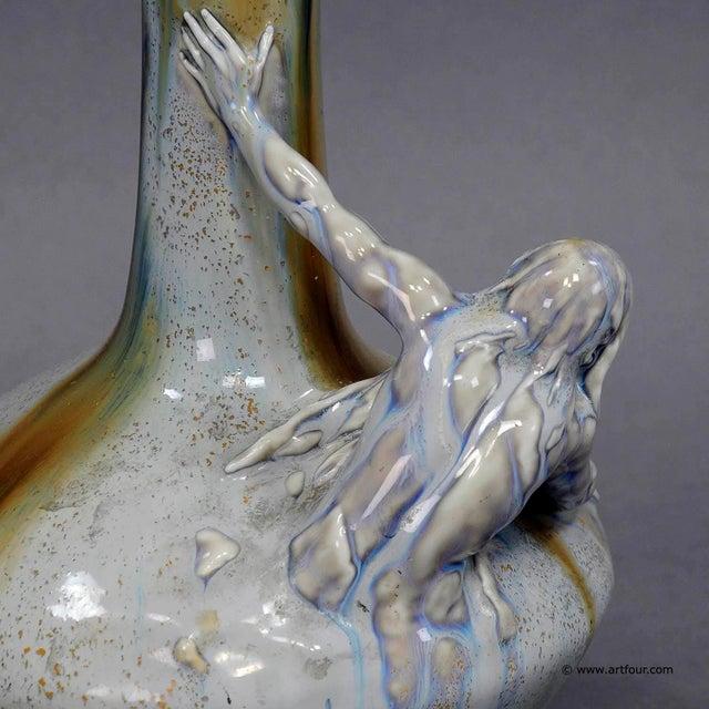 Art Nouveau Great Art Nouveau Porcellain Vase With Neptun Sculpture Ca. 1900 For Sale - Image 3 of 6