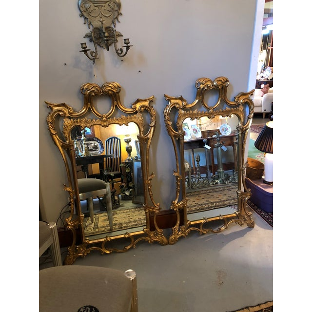 Chippendale Style Mid Century Hand Carved Gilt Italian Rococo Mirrors - a Pair For Sale - Image 11 of 11