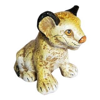 Vintage 1970s Italian Art Pottery Lion Cub Animal Statue Figurine For Sale
