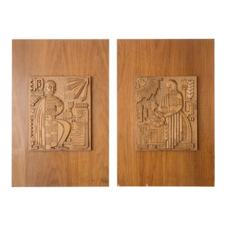 Mid Century Medieval Man & Woman Bas Relief Wood Carving Plaques - a Pair For Sale