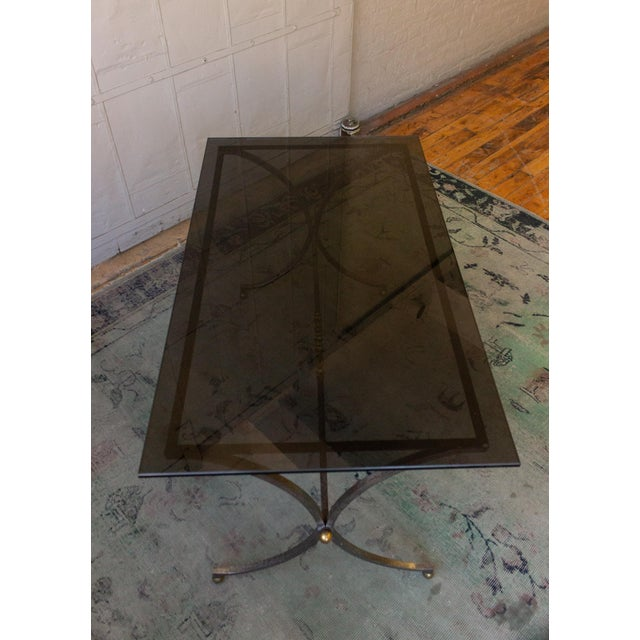 1950s Brushed Steel and Brass End Table For Sale - Image 5 of 11