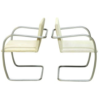 Mies Van Der Rohe Brushed Nickel Chairs - Pair