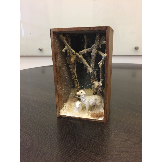 Found Objects Folk Art Hand Made Sheep Winter Diorama Box For Sale - Image 7 of 7
