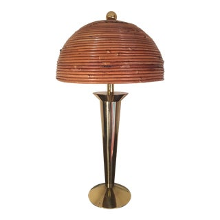 1970s Mid Century Stiffel Brass Table Lamp With Coiled Bamboo Italian Shade For Sale