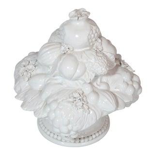 Italian White Fruit Topiary Jar For Sale