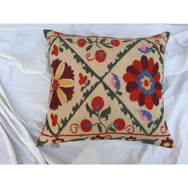 Antique Embroidered Suzani Pillow - Image 3 of 7