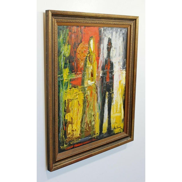 For your consideration is a gorgeous, framed, oil on canvas pallet knife painting of abstracted figures, signed by...