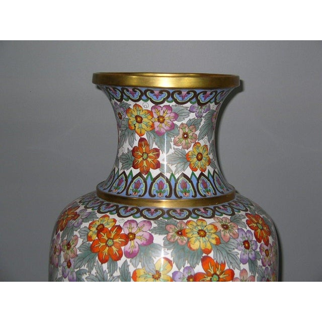 Up for sale is a large vintage Chinese cloisonne vase finely decorated with millefleur (Wanhua Di, millon-flower ground)...