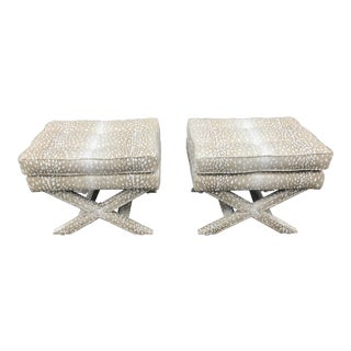 Vintage Billy Baldwin Style X Stools- A Pair For Sale