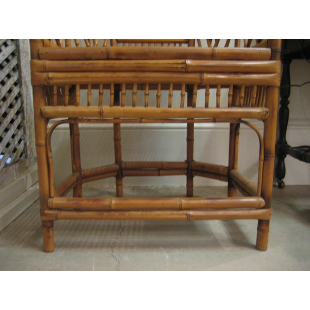 Wood 1970s Vintage Bamboo & Cane Chairs With Cushions - a Pair For Sale - Image 7 of 10