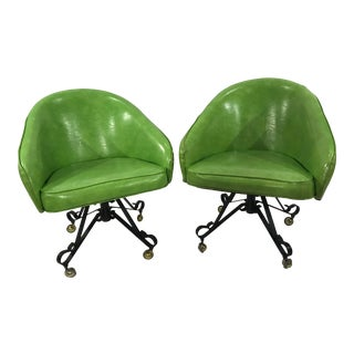 1960s Vintage Groovy Retro Tufted Vinyl Swivel Club Chairs- A Pair For Sale