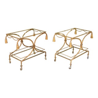 Vintage Pair of Gold Leaf Bar/ Tea Carts