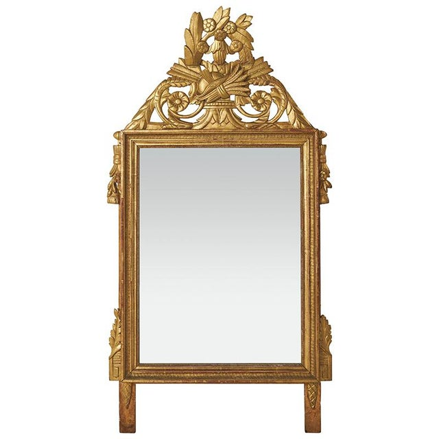 Metal 18th Century Louis XVI Carved Gilded Mirror, Circa 1770 For Sale - Image 7 of 7