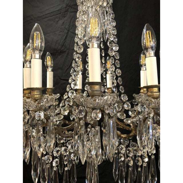 Portieux Vallerysthal French Napoleon III Signed Portieux Crystal Chandelier For Sale - Image 4 of 9